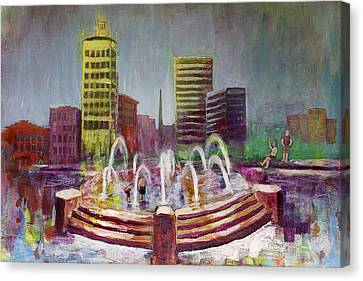 Fun In The Fountain In Asheville Canvas Print by Gray  Artus