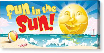 Fun In The Sun Canvas Print by Ned Levine