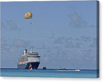 Fun In The Sun - Ship At Anchor Canvas Print by Michael Flood