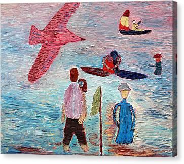 Fun On The Beach Canvas Print by Vadim Levin