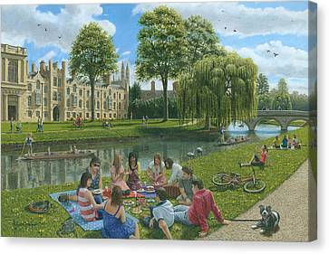 Weeping Willow Canvas Print - Fun On The River Cam Cambridge by Richard Harpum