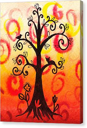Fun Tree Of Life Impression V Canvas Print by Irina Sztukowski