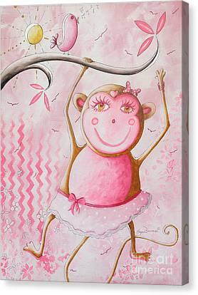 Fun Whimsical Pink Monkey Princess Baby Girl Nursery Painting By Megan Duncanson Canvas Print by Megan Duncanson