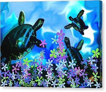 Fun With Sea Turtles Canvas Print by Lady Ex