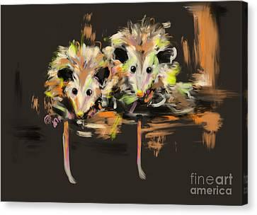 Funcky Baby Possums Canvas Print by Go Van Kampen