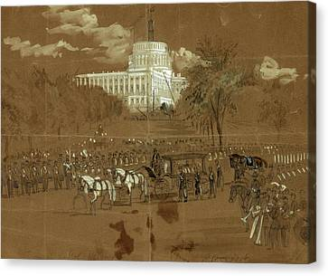 Funeral Of Col. Vosburgh. The Hearse Approaching The R Canvas Print by Quint Lox