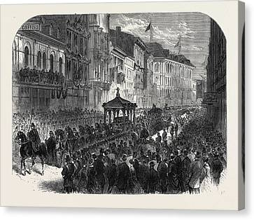 Funeral Procession Of The Late Hon Canvas Print by Canadian School