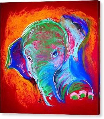 Funky Baby Elephant Blue Canvas Print