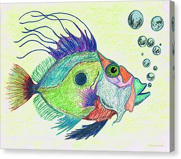 Funky Fish Art - By Sharon Cummings Canvas Print by Sharon Cummings