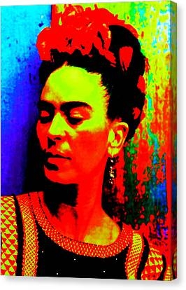 Funky Frida Canvas Print by Michelle Dallocchio