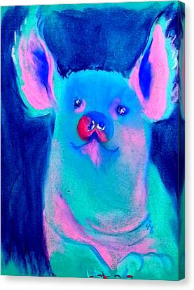 Funky Piggy Blue Canvas Print