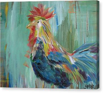 Funky Rooster Canvas Print by Kathy Stiber