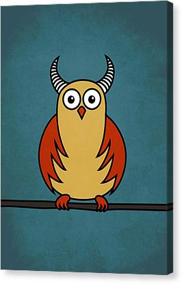 Funny Cartoon Horned Owl  Canvas Print