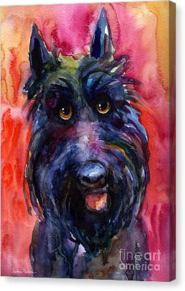 Scottish Dog Canvas Print - Funny Curious Scottish Terrier Dog Portrait by Svetlana Novikova