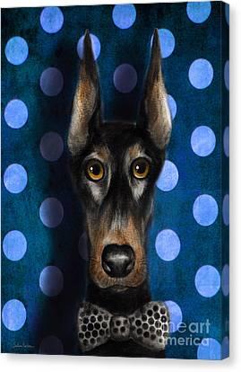 Funny Doberman Pincher Gentleman Dog Portrait Canvas Print by Svetlana Novikova