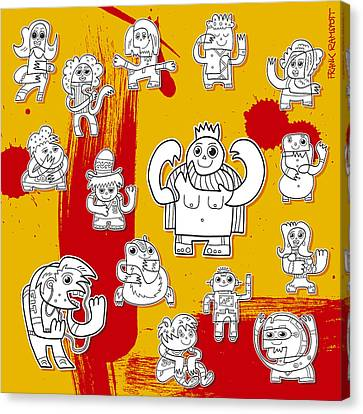 Funny Doodle Characters Urban Art Canvas Print