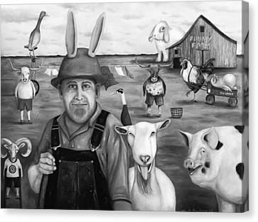 Funny Farm Bw Canvas Print
