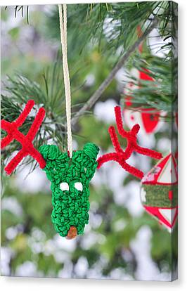 Decorated For Christmas Canvas Print - Funny Reindeer Ornament On Pine Tree by Marianne Campolongo