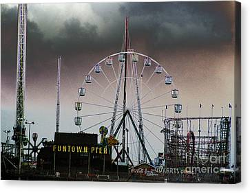 Funtown Pier Canvas Print by Kathy Flugrath Hicks
