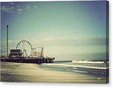 Roller Coaster Canvas Print - Funtown Pier Seaside Heights New Jersey Vintage by Terry DeLuco