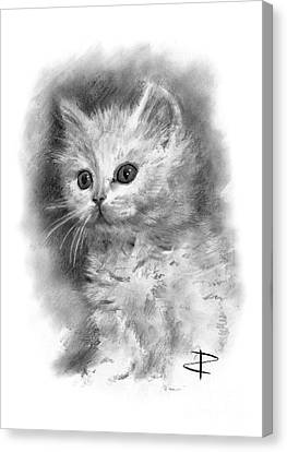Canvas Print featuring the drawing Furball by Paul Davenport