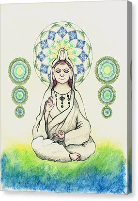 Canvas Print featuring the painting Fureai Quan Yin In Kyoto by Keiko Katsuta