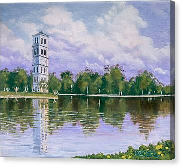 Canvas Print featuring the painting Furman University Clock Tower by Robert Decker
