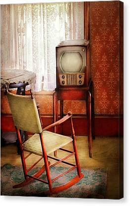 Furniture - Chair - The Invention Of Television  Canvas Print by Mike Savad