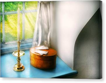 Furniture - Lamp - In The Window  Canvas Print by Mike Savad