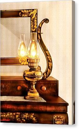Furniture - Lamp - The Bureau And Lantern Canvas Print by Mike Savad