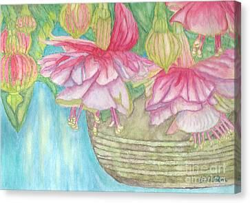 Fuschia Basket  Canvas Print by Linda Allan