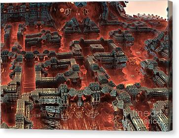 Future City In Red Canvas Print by Bernard MICHEL