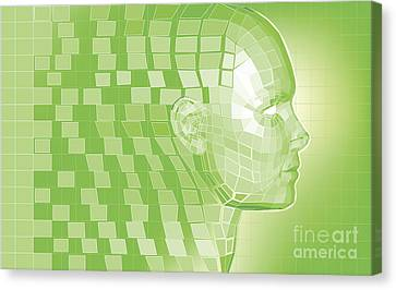 Forming Robots Canvas Print - Futuristic Avatar  Polygon Mesh Background by Christos Georghiou