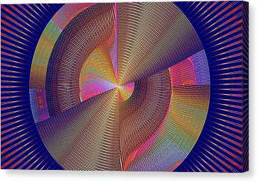Futuristic Blue Yellow And Pink Tech Disc Fractal Flame Canvas Print