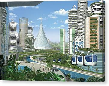 Futuristic Eco City, Conceptual Image Canvas Print by Science Photo Library