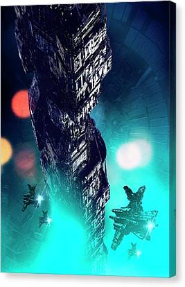 Futuristic Space Station Canvas Print by Victor Habbick Visions