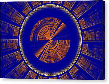 Futuristic Tech Disc Blue And Orange Fractal Flame Canvas Print by Keith Webber Jr