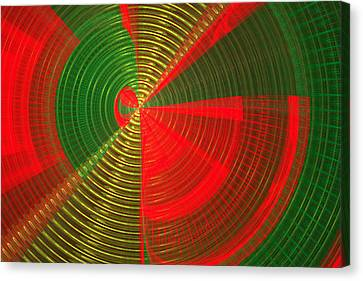 Futuristic Tech Disc Green And Red Fractal Flame Canvas Print