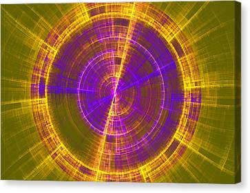 Futuristic Tech Disc Green Yellow And Blue Fractal Flame Canvas Print