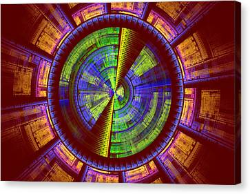 Futuristic Tech Disc Red Green And Yellow Fractal Flame Canvas Print