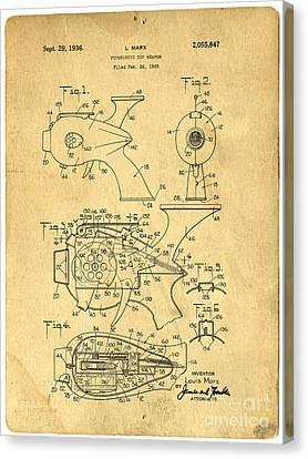 Futuristic Toy Gun Weapon Patent Canvas Print by Edward Fielding