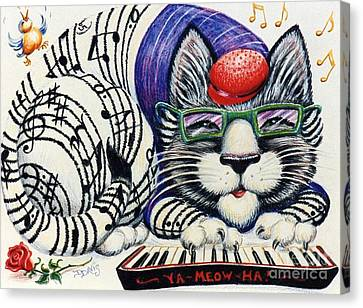 Canvas Print featuring the drawing Fuzzy Catterwailen by Dee Davis
