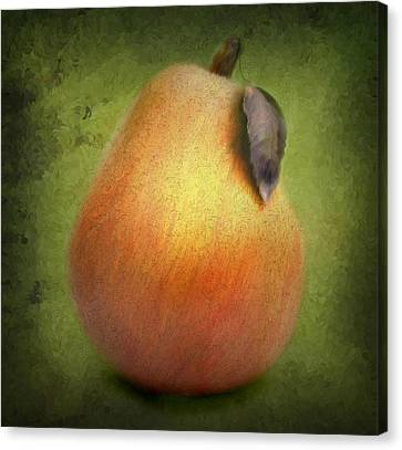 Canvas Print featuring the digital art Fuzzy Pear by Nina Bradica