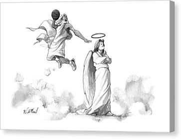 G-d Slam Dunks On An Angel's Halo Canvas Print by Will McPhail