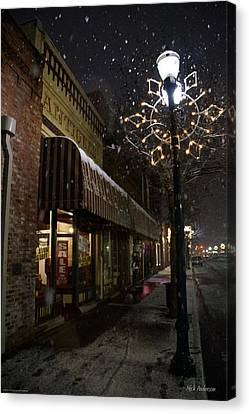 G Street Antique Store In The Snow Canvas Print by Mick Anderson