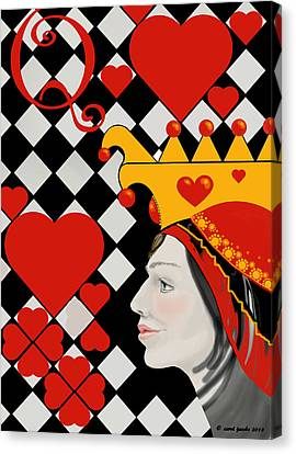 Canvas Print featuring the painting Gabby Queen Of Hearts by Carol Jacobs