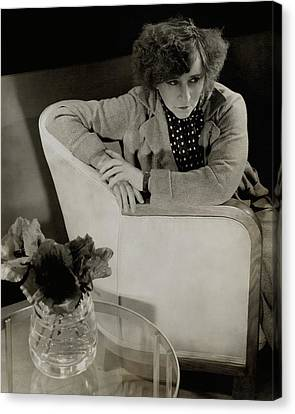 Gabrielle Sidonie Colette Sitting On An Armchair Canvas Print by Edward Steichen