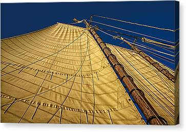 Canvas Print featuring the photograph Gaff Rigged Mainsail by Marty Saccone