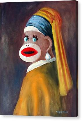 Canvas Print featuring the painting Gal With A Pearl Earbob by Randol Burns