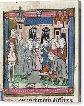 Galahad Draws Sword From Block Canvas Print by British Library